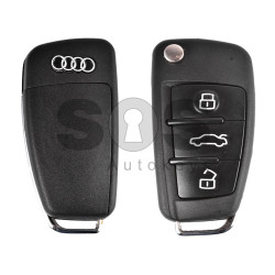 Key Shell (Flip) for Audi  Buttons:3 / Blade signature: HU66 / (With Logo)