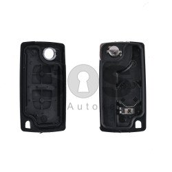 Key Shell (Flip) for PSA Buttons:2 / Blade signature: HU83 / (With a battery) / (With Logo)