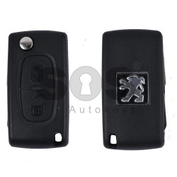 Key Shell (Flip) for Peugeot 408 Buttons:2 / Blade signature: NE78 / (With Logo)