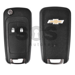 Key Shell (Flip) for Chevrolet Buttons:2 / Blade signature: HU100 / (With Logo) / (Empty box)