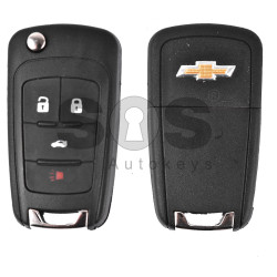 Key Shell (Flip) for Chevrolet Buttons:3+1 / Blade signature: HU100 / (With Logo) / (Empty box)
