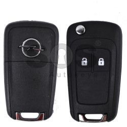 Key Shell (Flip) for Opel Astra/Insignia Buttons:2 / Blade signature: HU100 / (as OEM) / (With Logo)