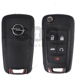 Key Shell (Flip) for Opel Buttons:4+1 / Blade signature: HU100 / (as OEM) / (With Logo)