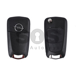 Key Shell (Flip) for Opel Astra/Vectra/Corsa Buttons:2 / Blade signature: HU100 / (as OEM) / (With Logo)