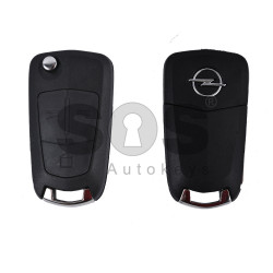 Key Shell (Flip) for Opel Vectra C Buttons:3 / Blade signature: HU100 / (as OEM) / (With Logo)