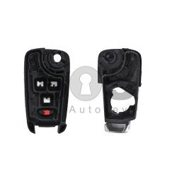 Key Shell (Flip) for Opel Buttons:3+1 / Blade signature: HU100 / (as OEM) / (With Logo)