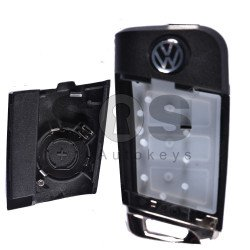 Key Shell (Flip) for VW Buttons:3 / Blade signature: HU66 / (With Logo)