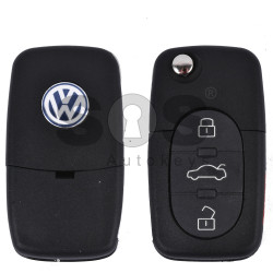 Key Shell (Complete - Flip) for VW Buttons:3 / Blade signature: HU66 / (Round) / (With Logo)