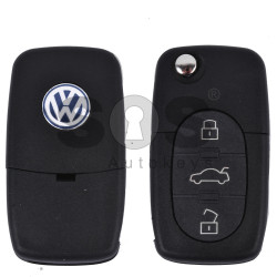Key Shell (Complete - Flip) for VW Buttons:3+1 Panic / Blade signature: HU66 / (Round) / (With Logo)
