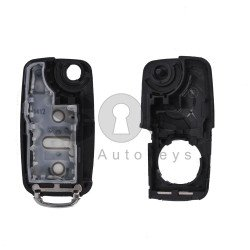 Key Shell (Flip) for VW UDS-GOLF6 / POLO / CADDY Buttons:3 / Blade signature: HU66 / (With Logo)