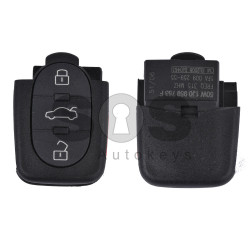 Key Shell (Back Part - Flip) for VAG Buttons:3+1 Panic / Blade signature: HU66 / Battery: 2032 / Part No: 50W1J0959753F / (Round)